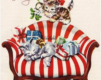 Christmas cats,kittens,cat on stripe sofa*O darling*Instant Digital Download,tags, frame,greeting cards, sales tags,sewing.