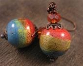 Porcelain beads, tangerine orange glass and antique copper handmade earrings