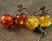 Amber fossil resin yellow or orange brown, antique brass, copper handmade earrings