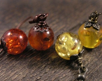SALE Amber fossil resin yellow or orange, antique brass or copper handmade earrings