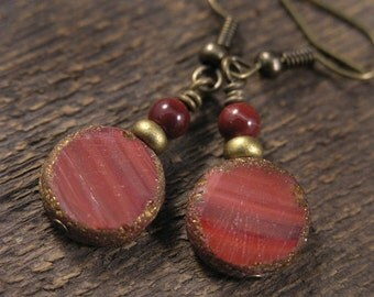 Burgundy red czech glass coin beads, mookaite stone and antique brass handmade earrings
