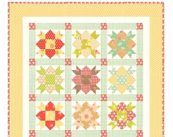 MINI Star Crossed quilt pattern wall hanging from Fig Tree and Co. - Charm pack friendly