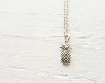 Pineapple Necklace Tiny Pine Apple Pendant in Sterling Silver