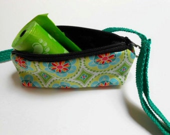 Dog Bag Holder Zipper Pouch with Key Ring ECO Friendly Padded  NEW Aqua Madhuri