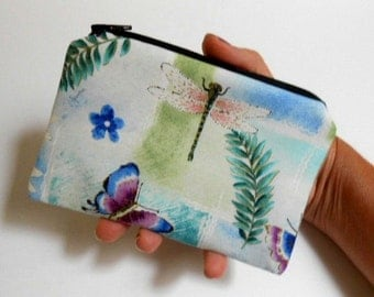 SALE Dragonfly Coin Purse Little Padded ECO Friendly Zipper Pouch NEW Dragonflies and Butterflies