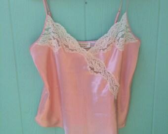 Vintage Victoria's Secret blush pink lace trimmed camisole. Sz large.