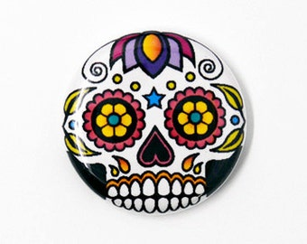 Sugar Skull One Inch Pinback Button, Magnet, or Keychain