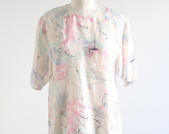 Vintage Abstract Print Silk Top