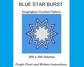 Blue Star Burst - Graphghan Crochet Pattern