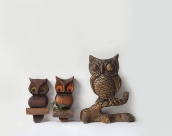 3 vintage owl wall plaques 1970's woodland home decor