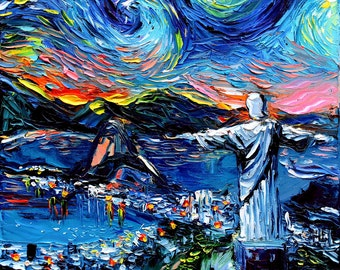 van Gogh Never Saw Christ The Redeemer - Art Giclee print reproduction by Aja 8x8, 10x10, 12x12, 20x20, and 24x24 inches choose your size