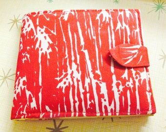 Mod vintage ladies' red silk billfold wallet, gold trim, never used