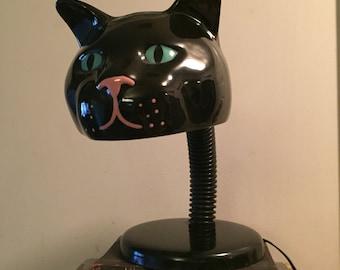 Unique vintage posable cat head lamp