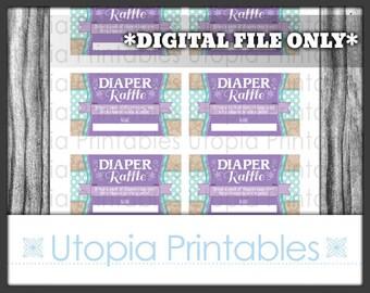 Teal Purple Flower Diaper Raffle Ticket Card Insert Baby Shower Polka Dot Floral Theme Party Favor Digital Printable Aqua Blue Turquoise Tan