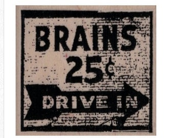 Halloween stamps  Brains 25 Cents  label rubber stamps    19899 stamp stamping supplies