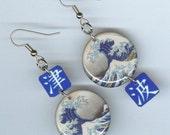 The Great Wave Earrings Japanese Art Hokusai woodblock Ukiyo e Kanji
