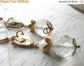 SALE Mother of God~ vintage assemblage earrings, religious earrings, Mary earrings, vintage crystal wedding earrings, communion earrings.