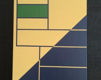 "11x14"" ORIGINAL abstract painting, ready to hang - art, decor, golden yellow, grass green, dark purple"