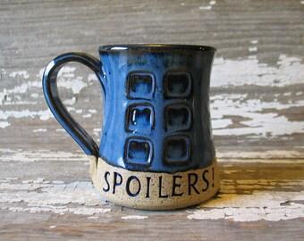 Spoilers! - Pottery Mug - River's Journal - Handmade Fan Art -  Doctor Who Inspired