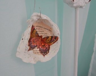 50%off Oyster Shell Decoupage Ornament/butterfly/vintage poem/holiday