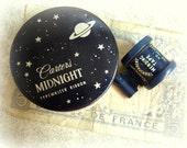vintage carter's midnight typewriter ribbon + dennison mending tape dispenser navy blue tin and spool