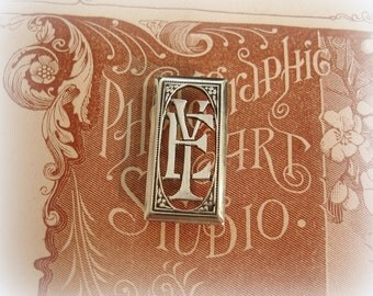 RARE antique double fRench monogram E Y or Y E rectangular silver plated monogram circa 1920s