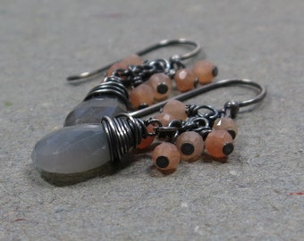 Gray, Peach Moonstone Earrings Gemstone Cluster Oxidized Sterling Silver Earrings Gift for Wife Gift for Her