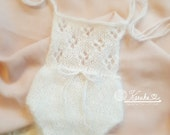 Angora Eyelet Jumper, Soft White, Newborn Photo Props, Knit Photo Props, Ready to Ship