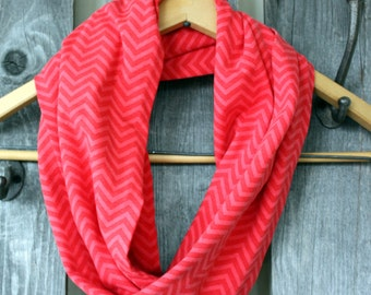 Red & Pink Chevron Jersey Knit Infinity Scarf