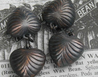 Oh your black heart..deep dark vintage blackened copper heart charms..FIVE ringed charms per buy.