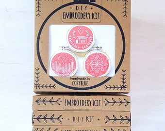 DIY holiday ornament embroidery kit - gift kit, holiday ornament DIY, embroidery kit in a box, DIY gift for crafters, christmas ornament set