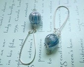 silver earrings with blue vintage beads - quartz and acrylic earrings - blue earrings - art deco earrings - simple dangle earrings