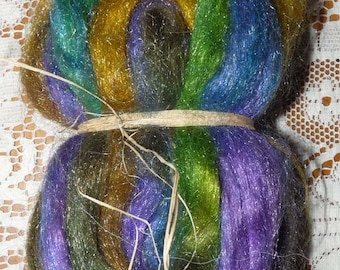 Hand Dyed Glitter, Sparkle Nylon roving for spinning / 1.9 ozs. / Dragonflies In The Sun