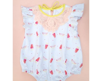 Popsicle & Watermelon print baby toddler romper Supayana ready to ship