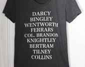 Jane's Men - Women's T-shirt - characters from Jane Austen's novels - S, M, L, XL