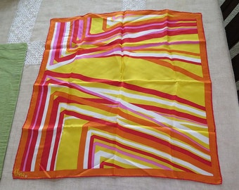 Vintage Vera Neumann Orange Red Yellow Square Silk Scarf Geometric Stripes