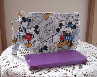 Mickey Minnie Clutch Wristlet Zipper Gadget Pouch Purse in  Made in USA Vintage Mouse