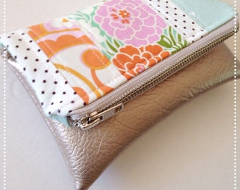Mini fold over clutch, zippered pouch, patchwork