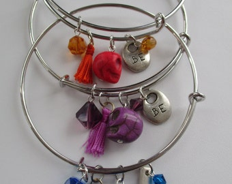 Day of the Dead SKULL Expandable Silver Bangles