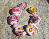 Leftovers strand ~ Party Pinks~ handmade glass beads- lampwork SRA