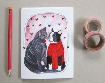 Valentine's Day Card - Greeting Card - Love Card - Friendship Card - Boston Terrier Card - Cat Card blank Card - Chloe and Clancy