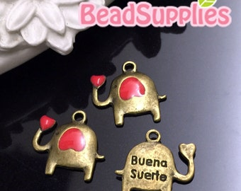 CH-ME-03198CR - Antique brass, Cutie elephant charm with coral red heart, 6 pcs