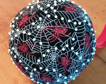 Spider Web Kissing Ball,Velvet Pomander,Gothic,Unique,Charlottes Web,corpse bride,spiderweb,red spider,Halloween,glitter,exclusive