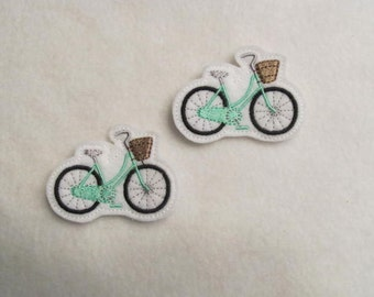 2 Felt BIKE With Basket Applique Embellishments Style DBLB