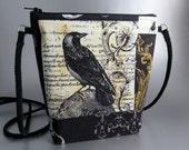 Raven - Cross Body Tote - Lightweight - Nevermore fabric - Black - Yellow - Damask - Zippered bag - Tote bag - Edgar Allen Poe - Purse