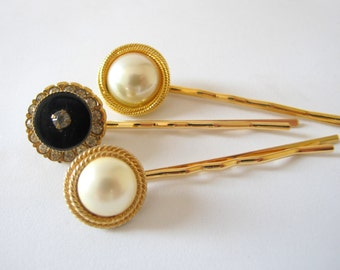 Nostalgic Pearl No.55 Vintage Pearl Jeweled Hair Pin, Set of Three, Bridal or Special Occasion hair accessory