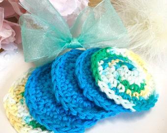 Crochet Cotton Facial Scrubbies, set of 5, Facial Cloths, Facial Scrubbies, Cotton Face Scrubbies, Make up removers, Reusable, Eco Friendly,