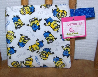SALE Reusable Little Snack Bag - pouch adults kids minions eco friendly by PETUNIAS