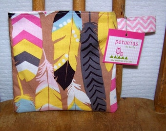 Reusable Little Snack Bag - pouch adults kids feathers eco friendly by PETUNIAS