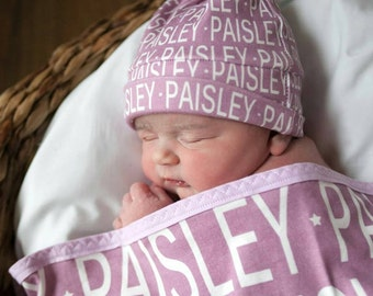 PERSONALIZED Baby Blanket hat set Organic coming home outfit twins multiples knot hat name hipster swaddle newborn photo prop gift birth ann